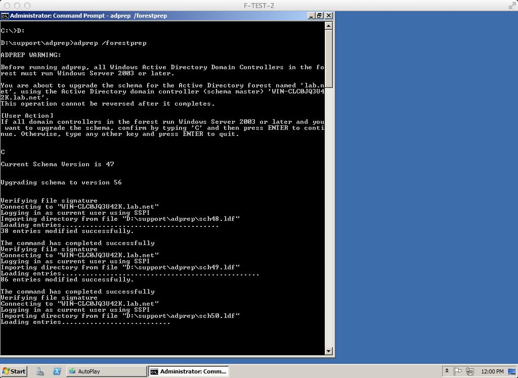 windows 2003 adprep tool